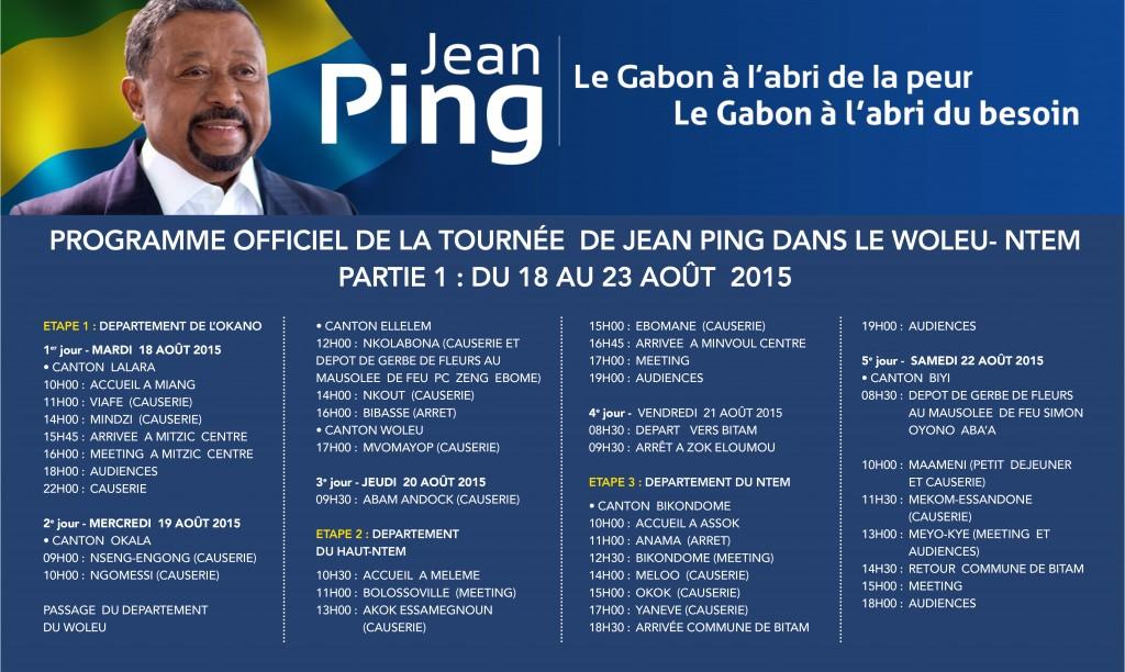 PROGRAMME tournée Jean PING dans le WOLEU - NTEM