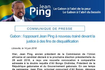 Gabon : l'opposant Jean Ping à nouveau trainé devant la justice à des fins de disqualification