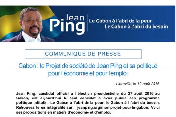 Gabon : le Projet de société de Jean Ping et sa politique pour l'économie et pour l'emploi