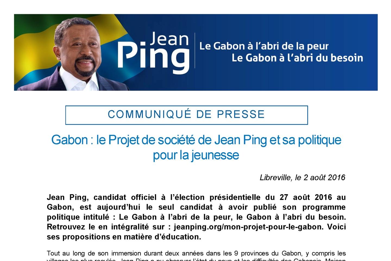 Gabon le projet de Jean Ping pour la jeunesse